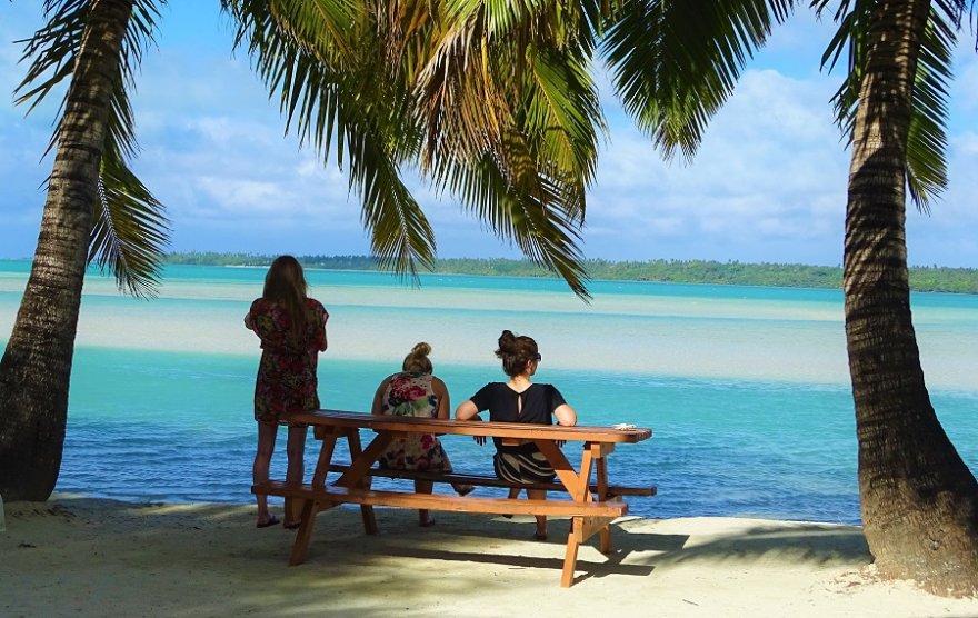 Cook Inseln Aitutaki Lagune Palmen